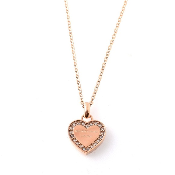 e7f7dbc0092e MK rose gold tone pave heart charm necklace